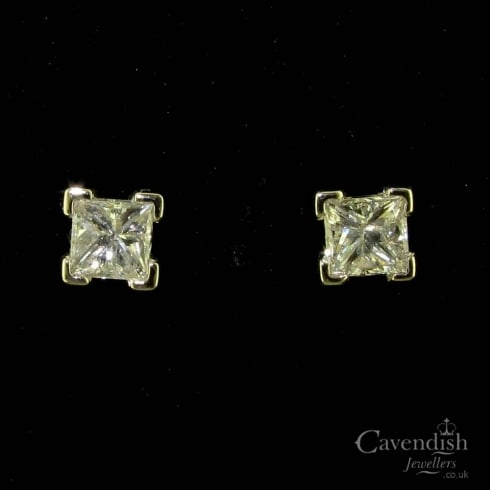 White Gold Princess Cut Diamond Stud Earrings