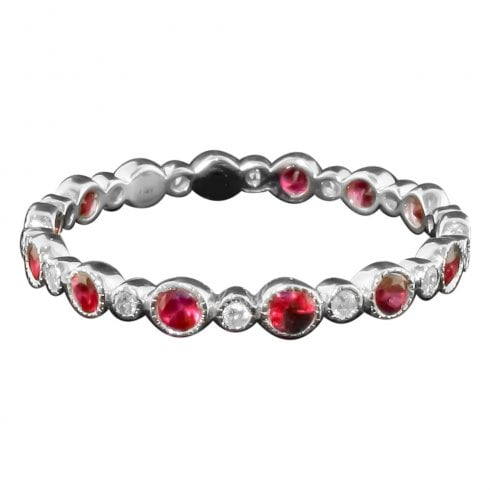 White Gold Ruby And Diamond Full Eternity Ring