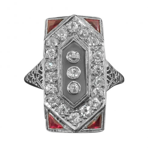White Gold Ruby Diamond and Agate Tablet Ring