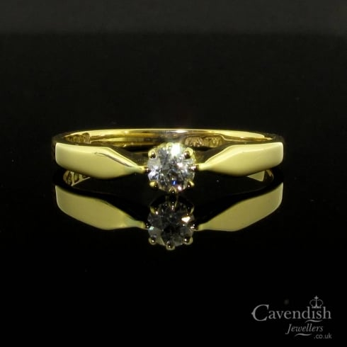 Wonderful 18ct Gold And Old Cut Diamond Solitaire Ring
