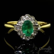 Wonderful 18ct gold Emerald And Diamond Cluster Ring