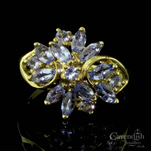Wonderful 9ct Gold And Tanzanite Cluster Ring