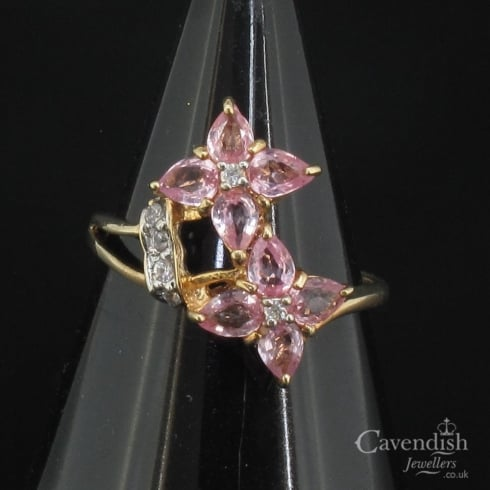 Wonderful 9ct Gold Diamond And Pink Sapphire Flower Cluster Ring