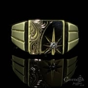 Wonderful 9ct Gold Diamond Set Gents Signet Ring