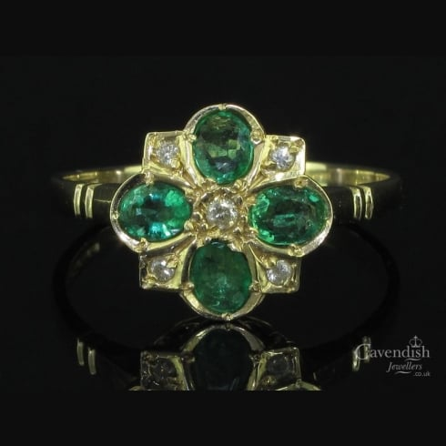 Wonderful 9ct Gold Emerald & Diamond Cluster Ring