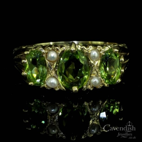 Wonderful 9ct Gold, Peridot And Seed Pearl 7 Stone Ring