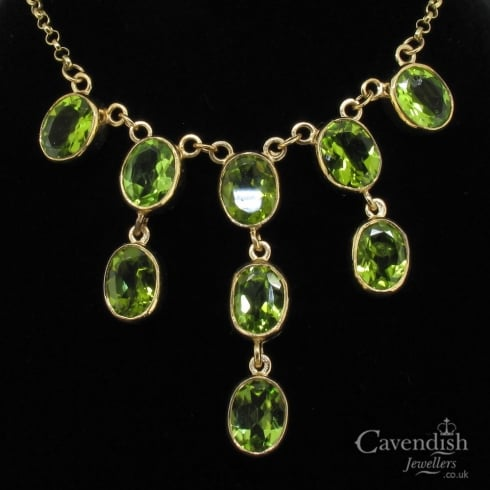 Wonderful 9ct Gold Peridot Waterfall Necklace
