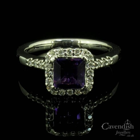 Wonderful Amethyst And Diamond Square Cluster Ring