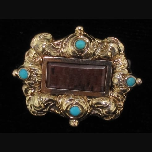Wonderful Gilt On Silver & Turquoise Mourning Brooch Circa 1890
