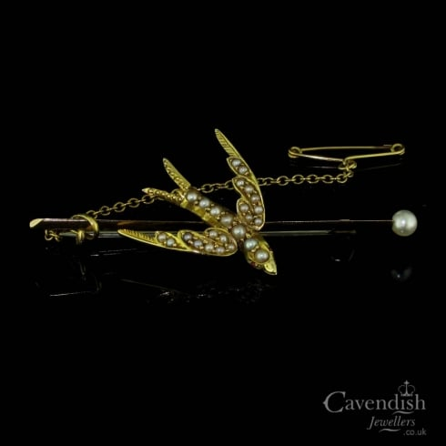 Wonderful Gold And Seed Pearl Swallow Brooch