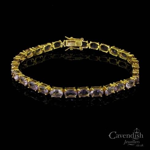 Wonderful Gold Plated And Amethyst Bracelet