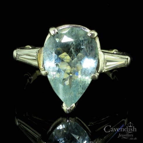Wonderful Platinum Aquamarine and Diamond Ring
