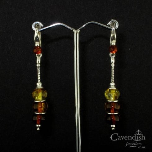 Wonderful Silver And Amber Bead Chain Drop Earrings