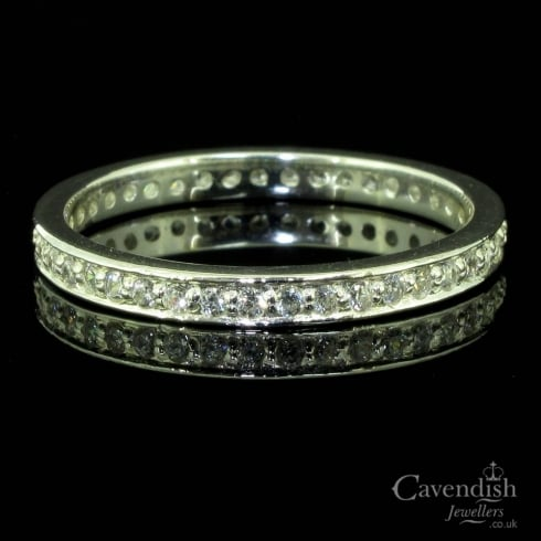 Wonderful Silver and Cubic Zirconia Full Eternity Ring