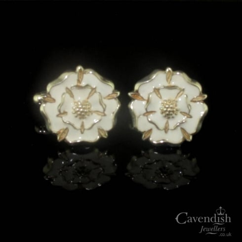Wonderful Silver And White Enamel Yorkshire Rose Cufflinks