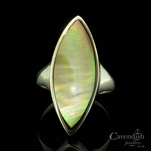 Wonderful Silver & Mother Of Pearl Marquise Shape Ring