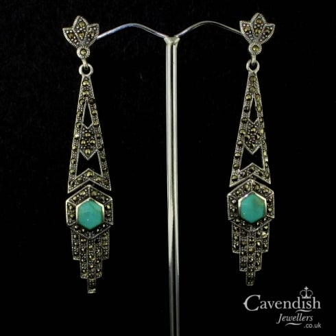 Wonderful Silver, Turquoise And Marcastic Drop Earrings