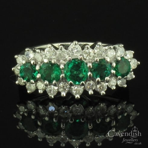Wondrous 18ct White Gold, Diamond And Emerald Cluster Ring
