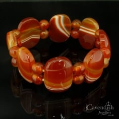Wondrous Carnelian Banded Agate Bead Link Bangle