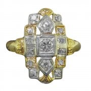 Yellow And White Gold Diamond Tablet Ring