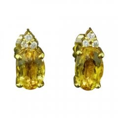 Yellow Beryl And Diamond Stud Earrings